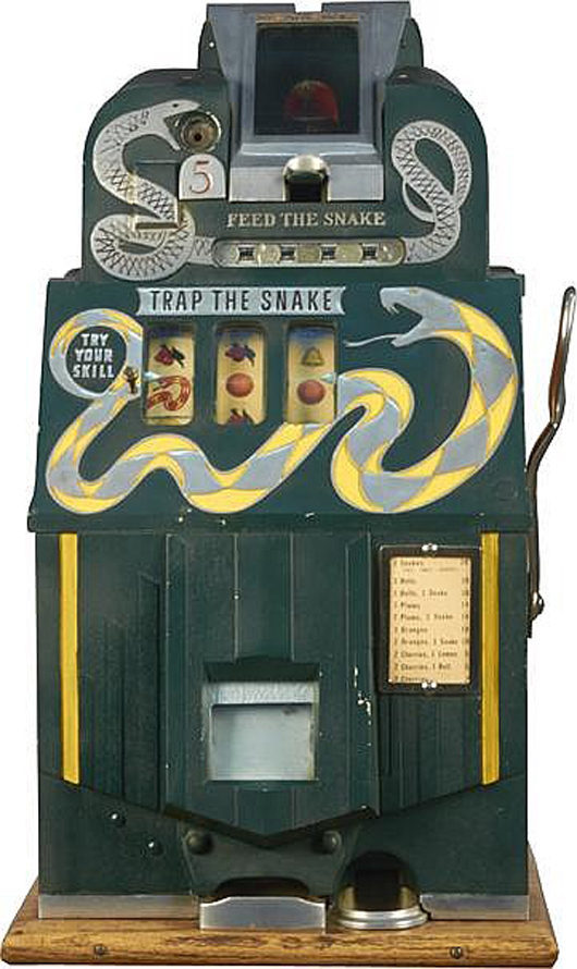 'Trap the Snake' 3-reel bell slot machine, $45,000, possibly the highest price every paid at auction for a 3-reel machine. Morphy Auctions image