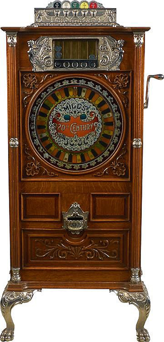 Mills 50-cent '20th Century' upright slot machine, circa 1900, $42,000. Morphy Auctions image