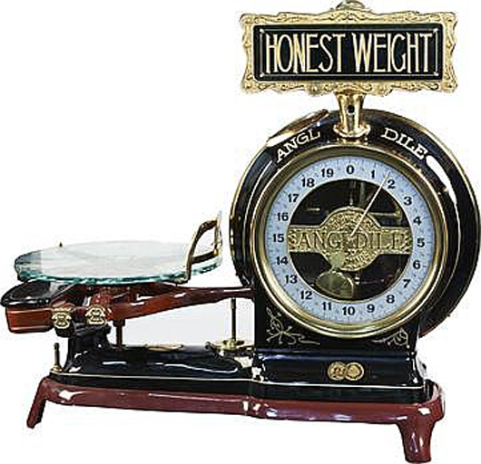 Angdile Springless Automatic Scale with etched-glass tray, $5,100. Morphy Auctions image
