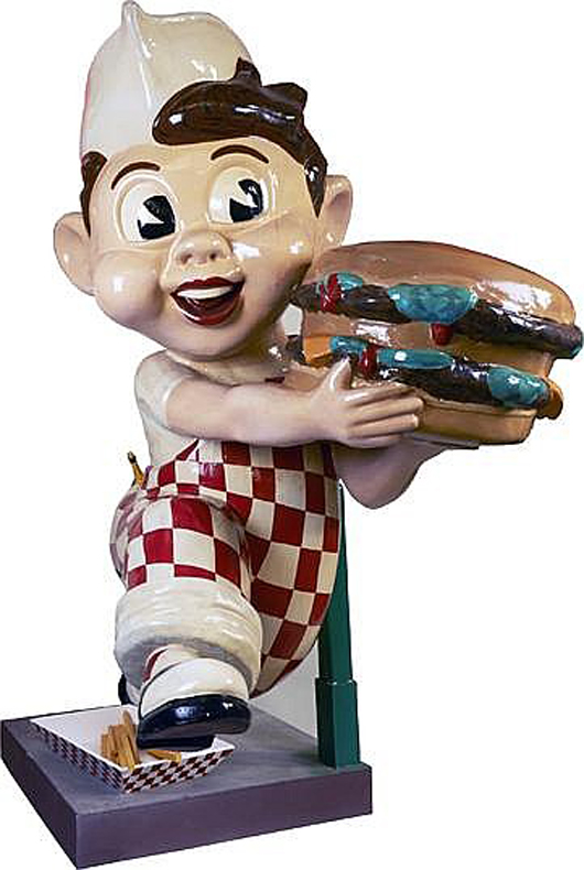 7ft 8in painted figural statue of Big Boy restaurant figure, $7,800. Morphy Auctions image