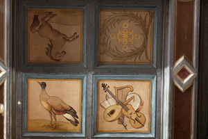 Vibrant details are now visible in the paintings forming four of the ceiling's 100 square coffers. 'As you clean these, the details come out. The animals actually have shadows, and you see touches of blue and orange in the duck,' noted Andrea Chevalier, senior painting conservator with the Intermuseum Conservation Association. Image courtesy of the Allen Memorial Art Museum.
