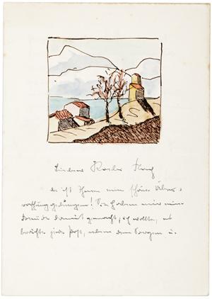 Hermann Hesse letter with original watercolor. PBA Galleries image