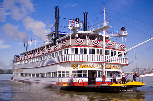 The Belle of Louisville, originally christened Idlewild, operated as a passenger ferry between Memphis, Tenn., and West Memphis, Ark. During the World War II she served as a floating USO nightclub for troops stationed at military bases along the Mississippi River. Image by Bo - Belle of Louisville. This file is licensed under the Creative Commons Attribution 2.0 Generic license.