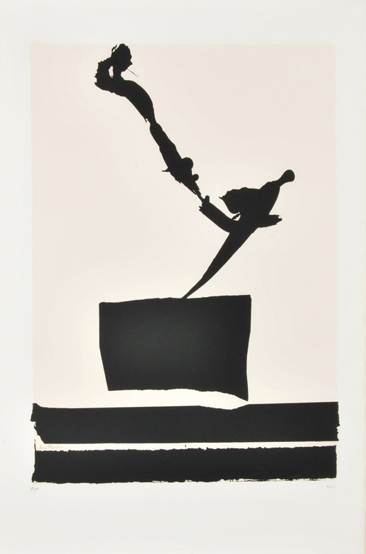 Robert Burns Motherwell (American, 1915-1991), 'Untitled' color silkscreen, Plate 4 from 'The African Suite,' signed, ed. 96/150, 41 1/2 x 28 1/2in, est. $2,500-$3,500. Palm Beach Modern Auctions image