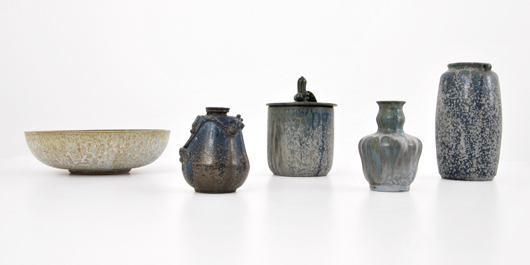 Group lot of five stoneware vessels by Arne Bang (Danish, 1901-1983), est. $2,000-$3,000. Palm Beach Modern Auctions image