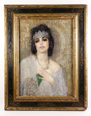 The top lot of the auction was this original oil on board painting by Armenian-American artist Hovsep Pushman (1877-1966), titled 'Sacred Lotus of the Nile.' Price realized: $50,000. Ahlers & Ogletree image