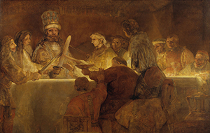 Rembrandt's 'The Conspiracy of the Batavians under Claudius Civilis' (1661-62) was deemed too shocking for public art. Image courtesy of Wikimedia Commons.