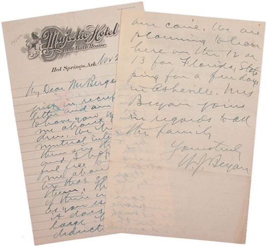 Handwritten letter by William Jennings Bryan on Majestic Hotel letterhead, dated Nov. 26, 1919. Image courtesy of LiveAuctioneers.com archive and Signature House.
