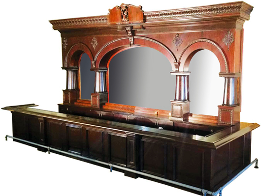 1890 Brunswick, Balke, Collender 'Princess' saloon back and front bar with original mahogany finish. Price realized: $79,800. Showtime Auction Services image