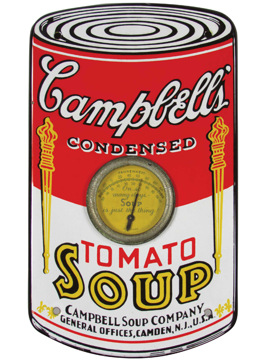 Campbell's Soup porcelain thermometer, 12 1/4 inches tall by 7 1/4 inches wide. Price realized: $19,200. Showtime Auction Services image