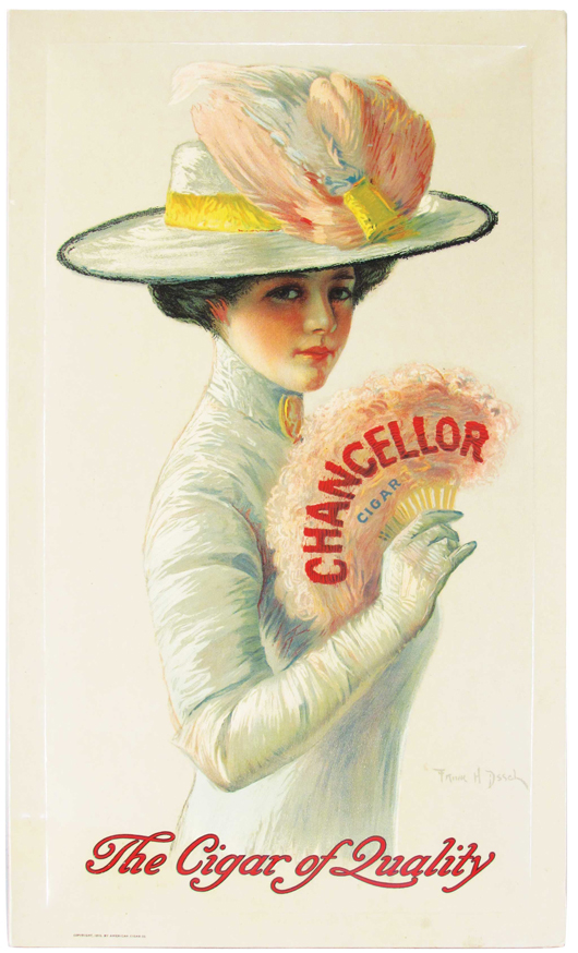 A Chancellor Cigars celluloid easel back sign, one of only two known, celluloid example in existence. Price realized: $13,860. Showtime Auction Services image