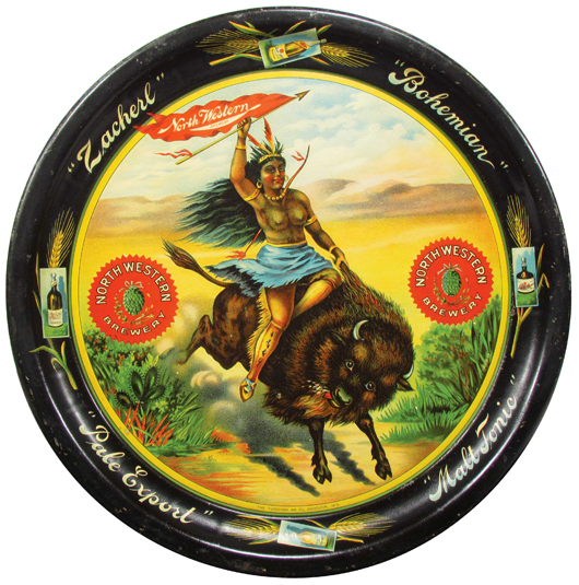 North Western Brewery tin serving tray, one of only four known and showing a topless Native American maiden riding a buffalo. Price realized: $9,120. Showtime Auction Services image