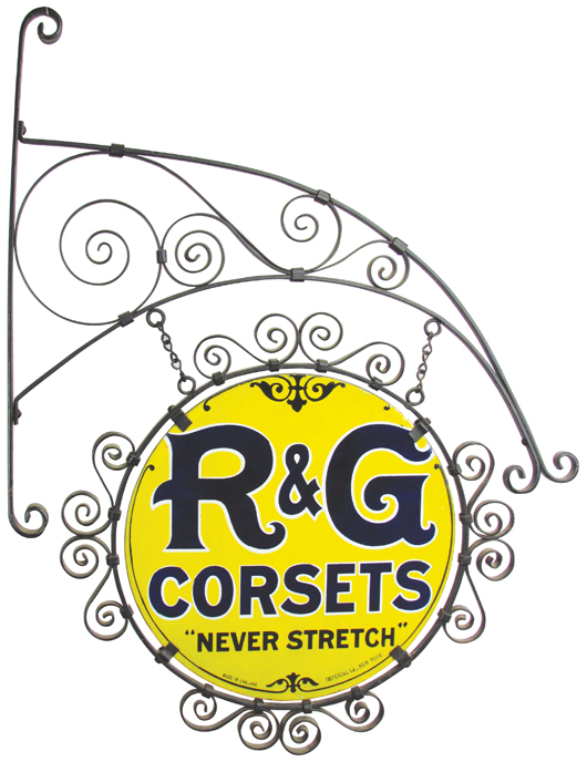 R&G Corsets porcelain sign in a wrought iron frame with the original hanging bracket, 17 inches by 21 inches. Price realized: $9,300. Showtime Auction Services image