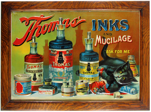 Thomas' Inks and Mucilage embossed tin sign, made by the Tuscarora Adv. Co., 19 3/4 inches by 13 3/4 inches. Price realized: $14,400. Showtime Auction Services image