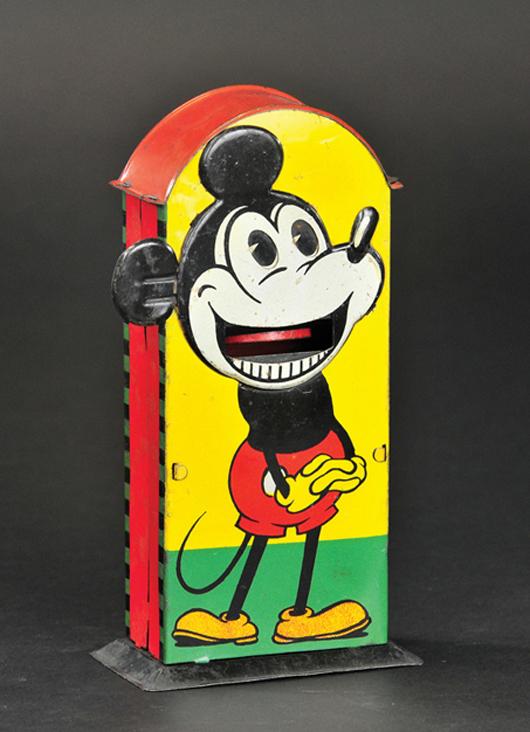 Saalheimer & Strauss Mickey Mouse mechanical tin bank, circa 1930s, est. $15,000-$18,000. Bertoia Auctions image