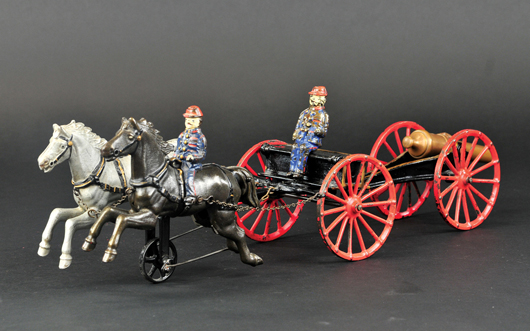 Ives Flying Artillery, circa 1890, a classic American firefighting toy, 21in long, est. $2,500-$3,500. Bertoia Auctions image