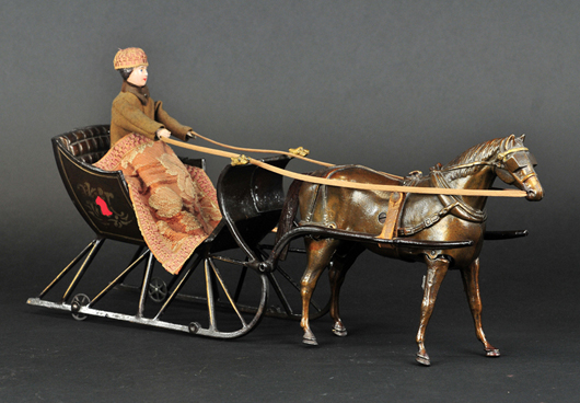 Ives Cutter Sleigh, circa 1893, 19½in long, considered by many the finest American toy ever produced, illustrious line of provenance, est. $100,000-$150,000. Bertoia Auctions image