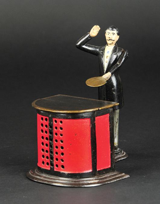 J. & E. Stevens Preacher in the Pulpit cast-iron mechanical bank, circa 1876, superb provenance including Dr. Arthur Corby, L.C. Hegarty, Stanley Sax. Est. $150,000-$200,000. Bertoia Auctions image
