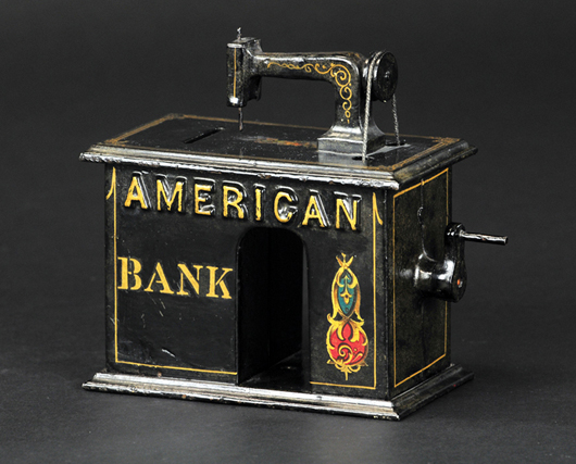 Cast-iron mechanical bank of unknown manufacture and reportedly given away by the American Sewing Machine Co., circa 1880s, est. $12,000-$15,000. Bertoia Auctions image