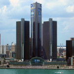 Downtown Detroit and the Renaissance Center, headquarters of General Motors. Image by Yavno, courtesy of Wikimedia Commons.