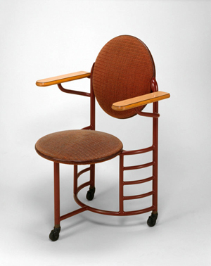 Frank Lloyd Wright-designed chair for the Johnson Wax Headquarters, manufactured by Steelcase Inc. Image courtesy of the Art Institute of Chicago. Copyright 2014 Frank Lloyd Wright Foundation / Artists Rights Society (ARS), New York. It is believed that the use of this low-resolution images qualifies as fair use under United States copyright law.