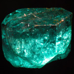 The Gachala Emerald is one of the largest gem emeralds in the world, at 858 carats (171.6 g). Found in 1967 at La Vega de San Juan mine in Gachalá, Colombia, it is housed at the National Museum of Natural History of the Smithsonian Institution. Image by thisisbossi. This file is licensed under the Creative Commons Attribution-ShareAlike 2.0 Generic license.