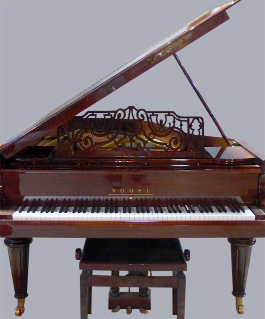 Vogel V 180 Royal (by Schimmel) baby grand piano, German, lacquered mahogany. Sterling Associates image