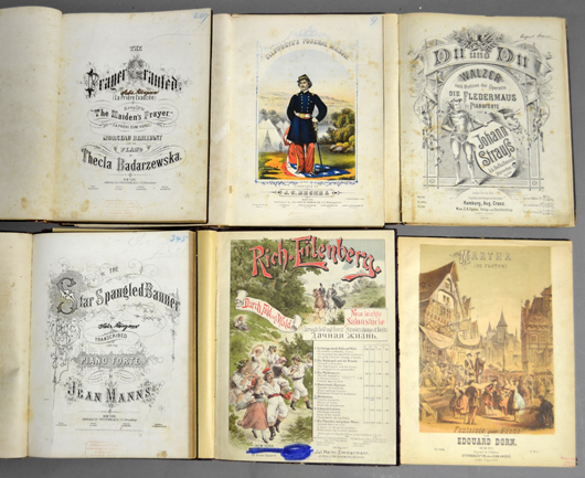 Collection of six antique music journals containing sheet music from various composers. Sterling Associates image