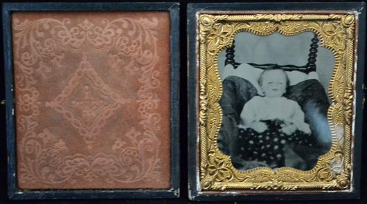 Victorian post-mortem ambrotype / daguerreotype of an infant. Sterling Associates image