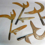 Selection of four African throwing knives with engraved blades and wrapped handles. Sterling Associates image