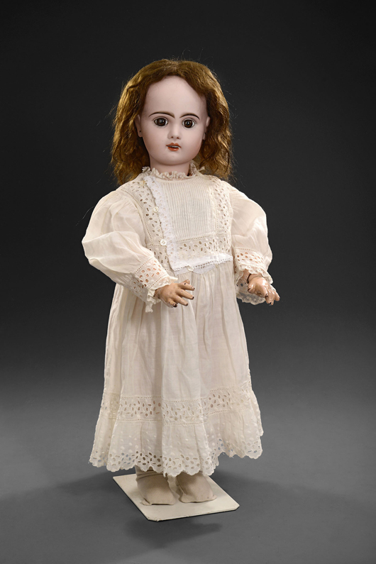 Bébé Lioretgraphe combines a bisque-headed doll by Jumeau with an ingenious celluloid-cylinder phonograph patented by the French clockmaker and recorded sound pioneer Henri Lioret, estimate: $6,500-$10,000 (5,000-8,000 euros). Auction Team Breker image