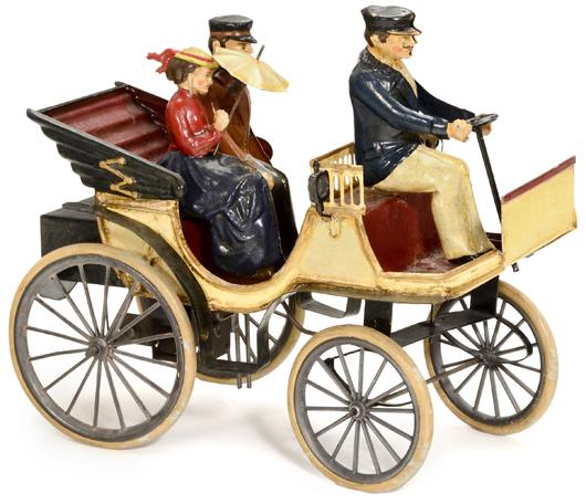 Bing open motor coach with passengers, circa 1900, estimate: $6,500-$10,000 (5,000-8,000 euros). Auction Team Breker image