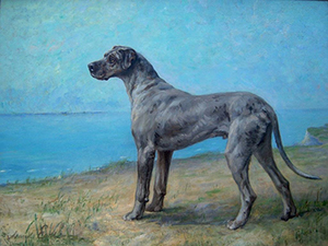 Maud Earl, 'Great Dane at the Seashore,' late 19th - early 20th century, oil on canvas.
