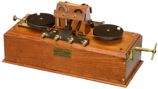 Rare Marconi magnetic detector, or 'Maggie,' of the type that was installed in the R.M.S. Titanic's radio room, estimate: $10,000-$15,000 (8,000-12,000 euros). Auction Team Breker image