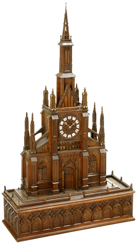 This musical cathedral clock was likely created as an exhibition piece by B.A. Bremond of Geneva around 1870, estimate: $5,500-$8,000 (4,000-6,000 euros). Auction Team Breker image