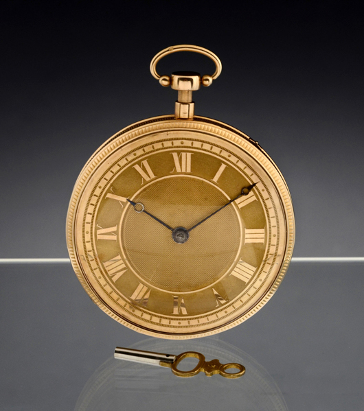'Sur-plateau' musical repeater gold pocket watch, circa 1820, estimate: $10,000-$15,000 (8,000-12,000 euros). Auction Team Breker image