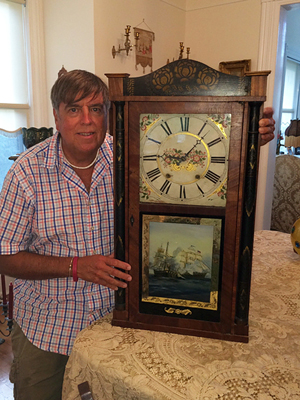 Shelf clock made by Eli and Samuel Terry, the first clock makers in the United States, with woodworks made in Goshen. Tim's Inc. Auctions image