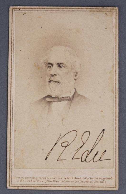 Robert E. Lee signed carte de visite. Quinn & Farmer image