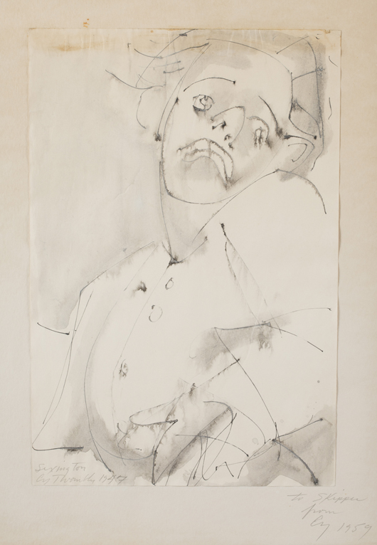 Self-portrait by Cy Twombly (American, 1928-2011), graphite, ink and gouache on paper; executed in 1947 and inscribed and gifted to a friend in 1959, est. $30,000-$50,000