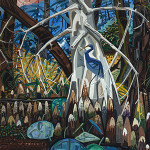 David Bates (American, b. 1952) 'The Blue Heron,' 1985, oil on canvas, 72 x 60 inches (182.9 x 152.4 cm). Price realized: $106, 250. Heritage Auctions image.
