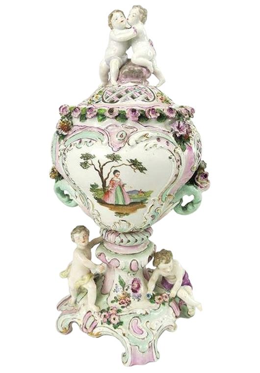 Meissen potpourri vase, 15½ inches tall, est. $500-$800. Don Presley Auctions image