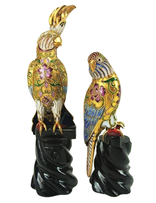 Pair of cloisonné birds on stands, the larger measuring 9 inches tall, est. $50-$100. Don Presley Auctions image