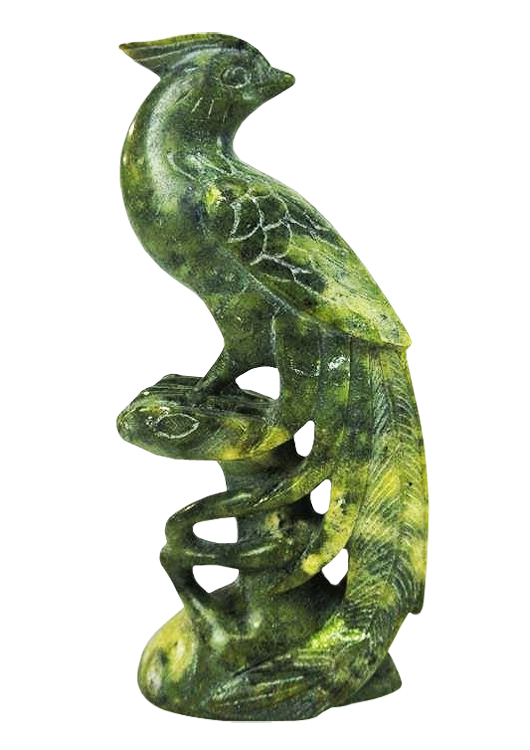 Stylized jade bird with carved detailing, 6½ inches tall, est. $50-$100. Don Presley Auctions image