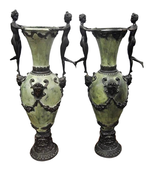 Pair of urns, after Houdon, 42½ inches tall, est. $800-$1,500. Don Presley Auctions image
