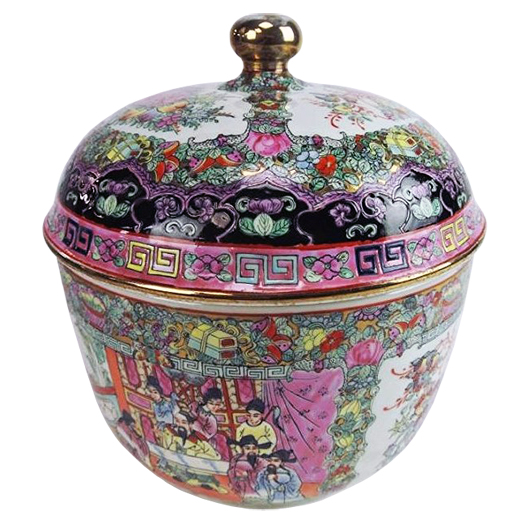 Chinese covered jar, 13 inches tall, est. $300-$400. Don Presley Auctions image