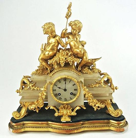 Late 19th-century French gilt bronze mantel clock, est. $1,000-$1,500. Don Presley Auctions image