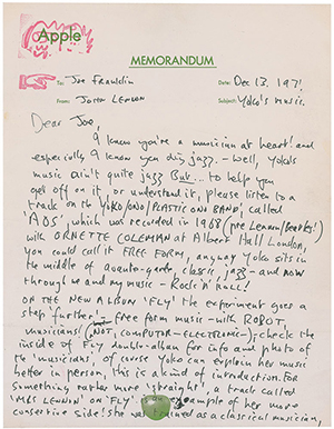 John Lennon letter in support of Yoko Ono's music, handwritten to New York broadcast legend Joe Franklin, auctioned for $28,171 on Oct. 23, 2014. Image courtesy of RR Auction
