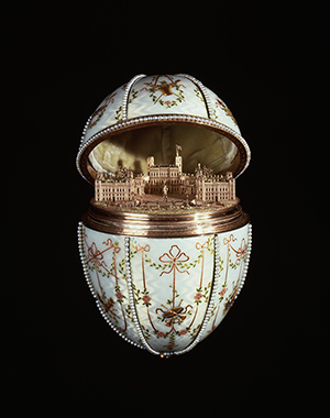 House of Fabergé. Gatchina Palace Egg (1901) gold, en plein enamel, silver-gilt, portrait diamonds, rock crystal and seed pearls. Acquired by Henry Walters, 1930. (44.500) Image courtesy of the Walters Art Museum