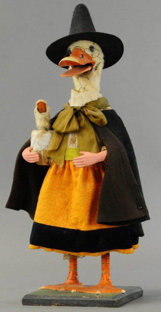 Clockwork trade stimulator of mama duck in witch costume holding a duckling under her arm, 22in tall. Both mother and baby duck nod their heads and open their mouths when activated. Sold at Bertoia's for $4,575 on March 29, 2014. Image courtesy LiveAuctioneers Archive and Bertoia Auctions