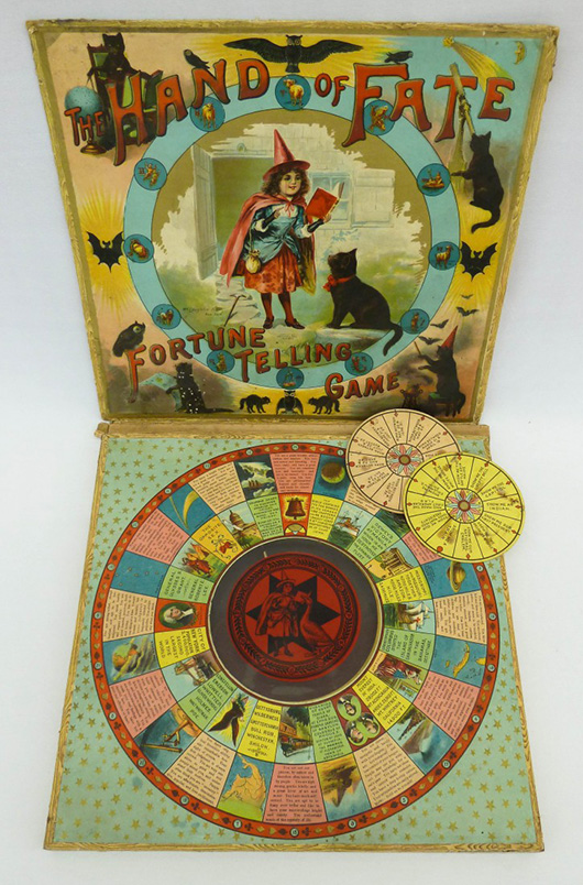 1901 McLoughlin Bros (American) 'Hand of Fate' Halloween board game, sold at MBA Seattle Auction House for $501.50 on March 8, 2012. Image courtesy LiveAuctioneers Archive and MBA Seattle Auction House